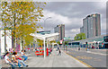 TQ2379 : Northward by A3220 West Cross Road, outside new Shepherds Bush Station, 2009 by Ben Brooksbank