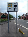 TM1543 : A12 and A14 straight on sign on Burrell Road (B1073) by Hamish Griffin