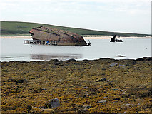 ND4798 : Bow and stern sections of blockship by Churchill Barrier No 3 by John Lucas
