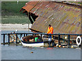 ND4798 : Fisherman's creel platform by the SS Reginald by John Lucas