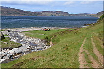 NC2730 : Glencoul River meets Loch Glencoul by Jim Barton