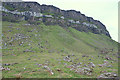 NM4989 : Cliffs and Scree north of Struidh by Anne Burgess