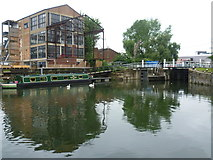 TQ3783 : Looking across the River Lea below Old Ford Locks by Marathon