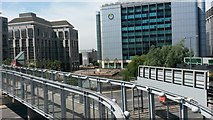 TQ3880 : View over roads and bridges from East India DLR station platform by David Martin