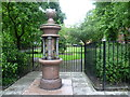 TQ3484 : The Nelsons' drinking fountain next to St Thomas Square by Marathon