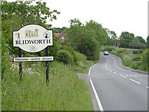 SK5855 : Blidworth village sign by Alan Murray-Rust