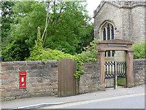 SK5855 : Blidworth Church postbox and churchyard gate by Alan Murray-Rust