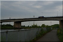 NZ4719 : A Travelsure Coach drives over the River Tees by Ian S