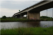 NZ4719 : The A19 goes over the River Tees by Ian S