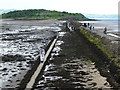 NT1977 : Breakwater and causeway to Cramond Island by Oliver Dixon