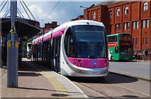 SO9198 : Midland Metro tram no. 20 on display at St. Georges, Bilston Street, Wolverhampton by P L Chadwick