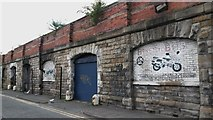 NZ2463 : Lock-up gargages under Railway arches, Pottery Lane, Newcastle upon Tyne by Graham Robson