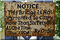 NY3971 : Netherby Footbridge Warning Sign by James T M Towill