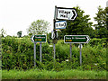 TL8851 : Roadsigns on the A134 Bury Road by Geographer