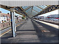 SY6779 : Under the island platform canopy at Weymouth railway station by Jaggery