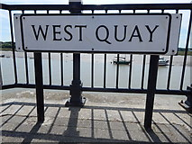 TM0321 : West Quay sign (close up) by Hamish Griffin