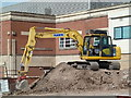 SO8754 : Yellow digger - Worcestershire Royal Hospital by Chris Allen