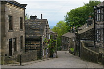 SD9828 : Main road through Heptonstall village by Christopher Hilton