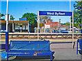 TQ0461 : West Byfleet station sign by Ben Brooksbank