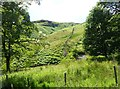NY3620 : Collapsed dry stone wall climbs Birkett Fell by Russel Wills