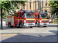 SJ8398 : Fire Engines in Albert Square by David Dixon
