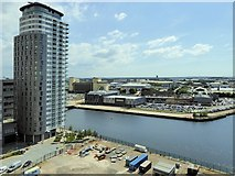 SJ8097 : Manchester Ship Canal, Trafford Wharf/MediaCityUK by David Dixon