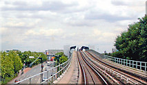 TQ4080 : Approaching West Silvertown station, DLR by Ben Brooksbank