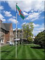 TF4575 : The flag of Lincolnshire outside Alford's manor house by Steve  Fareham
