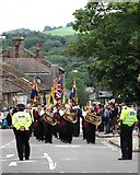 SK0394 : Brass band on High Street, Glossop by Neil Theasby
