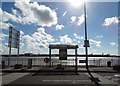 SJ3489 : Bus shelter on Liverpool waterfront by Neil Theasby