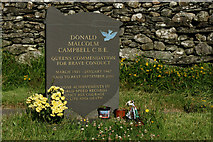 SD3097 : Donald Campbell's Grave, Coniston by Peter Trimming