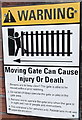 ST1677 : Moving gate warning notice in Kyveilog Street, Cardiff by Jaggery