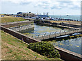 SZ6399 : Long Curtain moat and Clarence Pier by Oliver Dixon