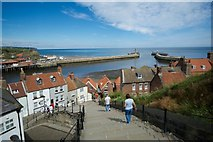 NZ8911 : Whitby Harbour Moles from the 199 Steps by Peter Skynner