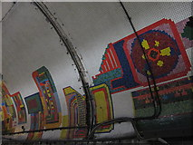 TQ2981 : Tottenham Court Road tube station - Paolozzi mosaic, Central Line (9) by Mike Quinn
