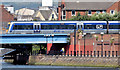 J3474 : Train crossing the Laganside Walkway, Belfast (July 2014) by Albert Bridge