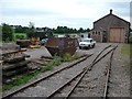SS9944 : Tracks and open storage outside Dunster engine shed by Christine Johnstone
