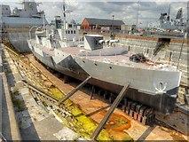 SU6200 : Portsmouth Historic Naval Dockyard, HMS M33 in Dazzle Camouflage by David Dixon