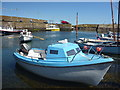 NT9167 : Coastal Berwickshire : Blue And White Boat At St Abbs by Richard West