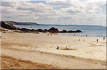 SX2553 : Eastward across the beach at East Looe, 1996 by Ben Brooksbank