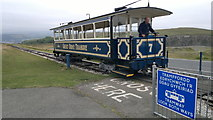 SH7683 : Great Orme Tramway, Tram 7 approaches summit station by Chris Morgan