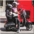 TQ2782 : Vespa driver and passenger wait at the lights, Baker Street by Robin Stott