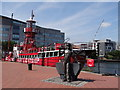 ST1974 : Lighthouse Boat and miner at Cardiff Bay by Debbie J