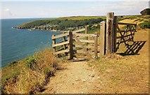 SX5746 : Gates on coast path above Piskey's Cove by Derek Harper