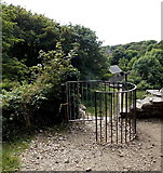 SM7525 : Kissing gate across a track to the cathedral, St David's by Jaggery