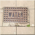 SX9292 : Cast iron water supply cover, Sidwell Street, Exeter by Robin Stott