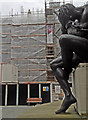 SJ3490 : Liverpool Town Hall swathed in scaffold and site hoarding by Steve  Fareham