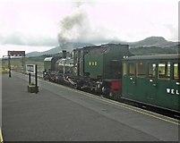 SH5752 : Train for Porthmadog, at Rhyd-Ddu by Roger Cornfoot