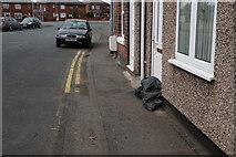 SE5023 : Sandbags on Low Green, Knottingley by Ian S
