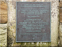 NZ8911 : Plaque re Memorial Stormgate the West Pier, Whitby by Christine Matthews